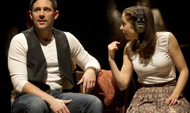 "In this theater image released by Boneau/Bryan-Brown, Steve Kazee, left, and Cristin Milioti are shown in a scene from ""Once,"" in New York. Producers announced Monday, May 7, 2012 that The Road Company is putting together a US national tour that will launch in the summer of 2013. (AP Photo/Boneau/Bryan-Brown, Joan Marcus)"