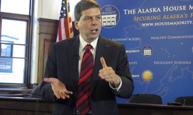 U.S. Sen. Mark Begich, D-Alaska, addresses reporters during a news conference after he spoke to a joint session of the Alaska Legislature on Monday, March 3, 2014, in Juneau, Alaska. (AP Photo/Becky Bohrer)