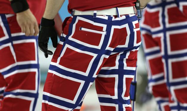The Norway curling team's latest pants design, inspired by the country's flag, are seen during competition at the 2014 Winter Olympics, Thursday, Feb. 13, 2014, in Sochi, Russia. (AP Photo/Robert F. Bukaty)