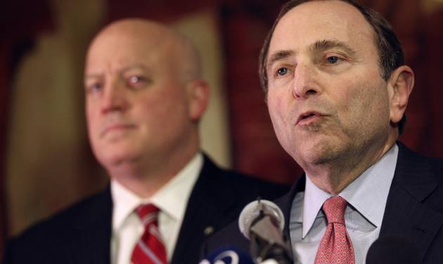 NHL commissioner Gary Bettman, right, and deputy commissioner Bill Daly and speak to reporters on Thursday, Dec. 6, 2012, in New York. The NHL has rejected the players' latest offer for a labor deal and negotiations have broken off at least until the weekend. (AP Photo/Mary Altaffer)