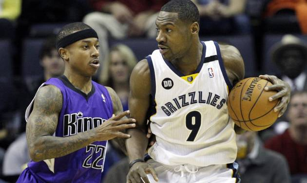 Memphis Grizzlies' Tony Allen (9) is pressured by Sacramento Kings' Isaiah Thomas (22) during the first half of an NBA basketball game in Memphis, Tenn., Friday, Jan. 18, 2013. (AP Photo/Danny Johnston)