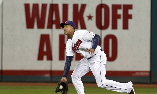 Cleveland Indians center fielder Michael Brantley fields a single hit by Chicago White Sox's Kevin Youkilis in the ninth inning of a baseball game, Monday, Oct. 1, 2012, in Cleveland. The White Sox won 11-0. (AP Photo/Tony Dejak)