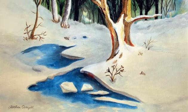 Snowscape, Althea Wright, watercolor. Image from University Marketing/Oklahoma State University