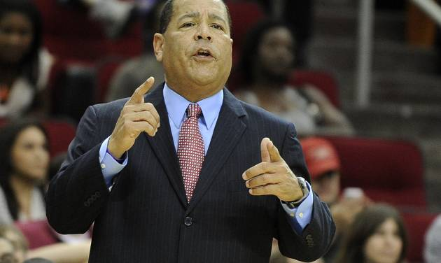Houston Rockets assistant coach Kelvin Sampson directs the players in the first half of an NBA basketball game against the Detroit Pistons on Saturday, Nov. 10, 2012, in Houston. Sampson is handling coaching duties until head coach Kevin McHale returns from family business. (AP Photo/Pat Sullivan)