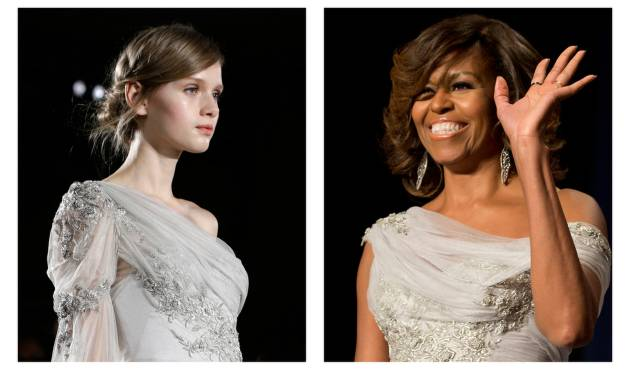 FILE - This two-picture combo of file photos shows a model walking the runway during the Marchesa Fall 2013 fashion show at Fashion Week in New York, Feb. 13, 2013, left, and first lady Michelle Obama waving as she arrives at the White House Correspondents' Association (WHCA) Dinner in Washington, May 2, 2014. First lady Michelle Obama in a Marchesa gown at the White House Correspondents' Association dinner, her gown was a custom version of a dress from the Marchesa Fall 2013 collection shown on the runway.  (AP Photo/File)