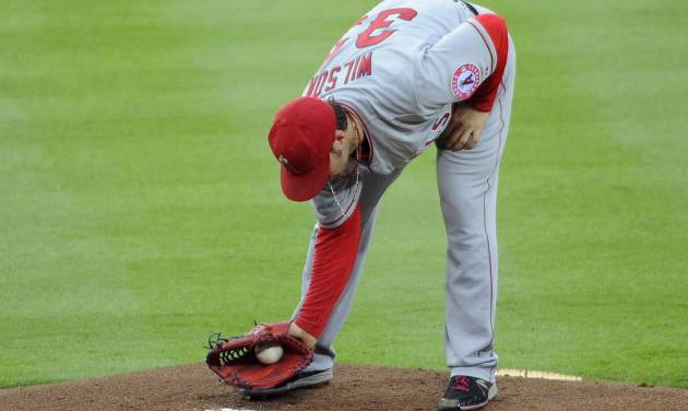 Los Angeles Angels starter C.J. Wilson dusts off the pitcher's mound after giving the Atlanta Braves back-to-back home runs during the first inning of a baseball game on Friday, June 13, 2014, in Atlanta. (AP Photo/David Tulis)