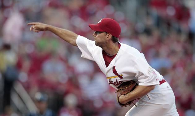 St. Louis Cardinals starting pitcher Adam Wainwright throws during the first inning of a baseball game against the San Diego Padres on Tuesday, May 22, 2012, in St. Louis. (AP Photo/Jeff Roberson)