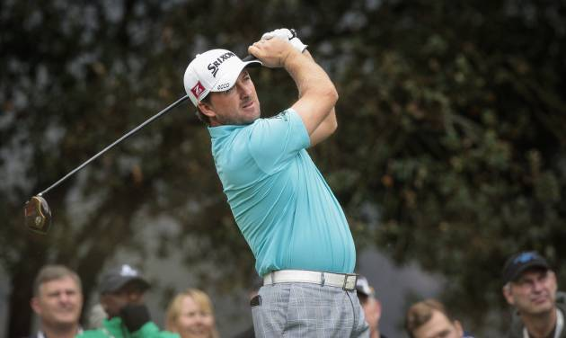 Graeme McDowell tees off on the second hole during the second round of the World Challenge golf tournament at Sherwood Country Club in Thousand Oaks, Calif., Friday, Nov. 30, 2012. (AP Photo/Bret Hartman)