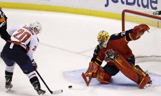 Washington Capitals right wing Troy Brouwer (20) scores a goal against Florida Panthers goalie Scott Clemmensen during an overtime period of an NHL hockey game, Tuesday, Feb. 12, 2013 in Sunrise, Fla. The Capitals defeated the Panthers 6-5 in overtime. (AP Photo/Wilfredo Lee)