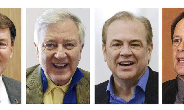 FILE - This combo of file photos shows South Dakota U.S. Senate candidates from left: Republican Mike Rounds; independent Larry Pressler; Democrat Rick Weiland, and independent Gordon Howie. The four candidates show a wide range of positions on the government's role in energy development. (AP Photo/File)