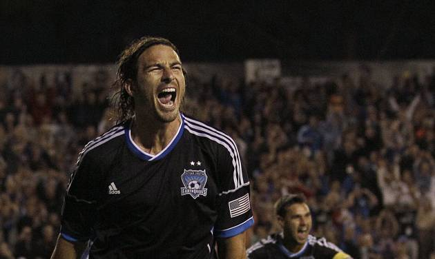 FILE - This July 14, 2012 file photo shows San Jose Earthquakes' Alan Gordon celebrating after scoring against Real Salt Lake during the second half of an MLS soccer game in Santa Clara, Calif. Gordon is nearly 31 and thought his chances of ever seeing the U.S. men's national team were gone forever. Wrong. Gordon is in camp with the Americans this week, as they prepare for two matches that will decide if they still have hope of playing in the 2014 World Cup. (AP Photo/Jeff Chiu, File)