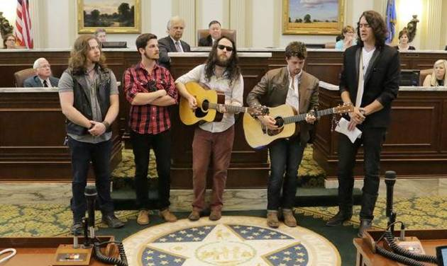 """The members of Oklahoma City-based country band Lower 40 -- from left, Sherman Haynes,  Michael Hines, Nick Work, Zach Felts and Kyle Earhart -- perform their song """"This Ole Place"""" on the floor of the state House of Representatives May 7, which was declared Lower 40 Day at the state Capitol. Photo provided"""