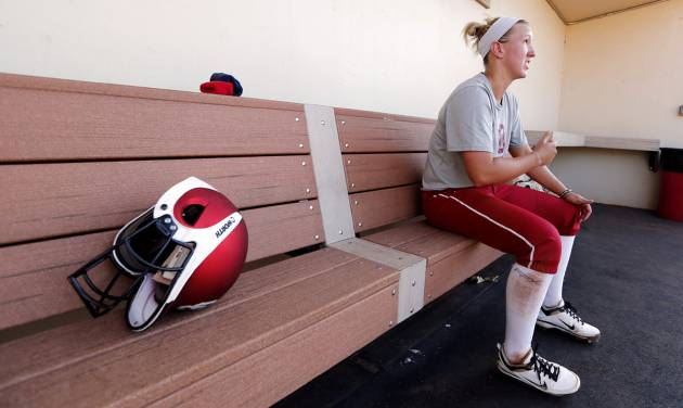 Shelby Pendley, infield, talks about the upcoming Softball Regional at the University of Oklahoma (OU) on Tuesday, May 14, 2013 in Norman, Okla.  Photo by Steve Sisney, The Oklahoman
