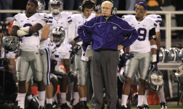 Kansas State Wildcats head coach Bill Snyder watches from the sideline during the fourth quarter of the NCAA college football game against Baylor Saturday, Nov. 17, 2012, in Waco Texas. Baylor won 52-24. (AP Photo/LM Otero)