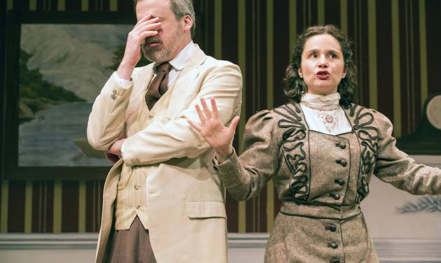 """This theater image released by Blake Zidell & Associates shows Bradford Cover, left, and Rachel Botchan in a scene from """"This Side of Neverland,"""" two J. M. Barrie plays currently performing off-Broadway at The Pearl Theatre Company in New York.  (AP Photo/Blake Zidell & Associates, Al Foote III)"""