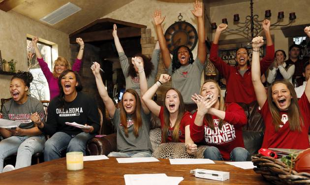 The OU Sooners react after seeing their draw during a watch party for the NCAA women's college basketball tournament selection show, at coach Sherri Coale's home in Norman, Okla., Monday, March 18, 2013. Photo by Nate Billings, The Oklahoman