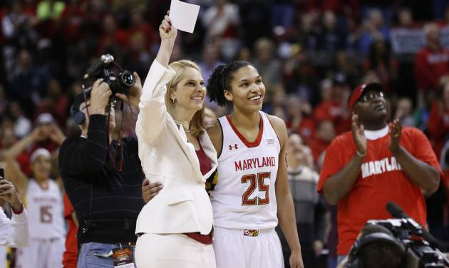 Maryland coach Brenda Frese, left, and forward Alyssa Thomas react as a banner honoring Thomas is unveiled after an NCAA college basketball game against Virginia Tech in College Park, Md., Sunday, March 2, 2014. (AP Photo/Patrick Semansky)