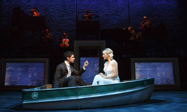 """This theater image released by The Hartman group shows Adam Kantor, left, and Betsy Wolfe during a performance of """"The Last Five Years,"""" in New York. (AP Photo/The Hartman Group, Joan Marcus)"""