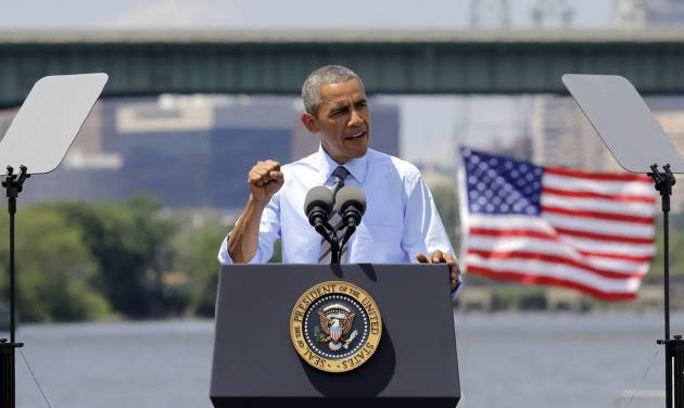 President Barack Obama speaks in front of the Interstate 495 bridge over the Christina River near Wilmington, Del., Thursday, July 17, 2014, to announce an initiative to increase private sector investment in the nation's infrastructure. The bridge was closed for emergency repairs last month after the discovery of four tilting support columns, and the federal government is helping pay for repairs. (AP Photo/Patrick Semansky)