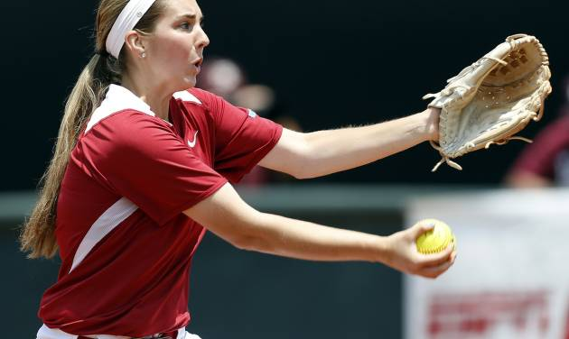 OU's Kelsey Stevens (18) pitches during the final game of the Norman Regional in 2014 NCAA softball championship between Oklahoma and Texas A&M in Norman, Okla., Sunday, May 18, 2014. OU won 11-6. Photo by Nate Billings, The Oklahoman