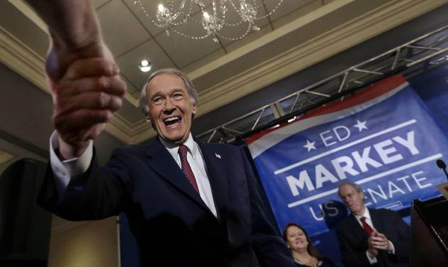 U.S. Senate candidate Ed Markey shakes hands with a supporter in Boston, Tuesday, April 30, 2013 as he celebrates winning the Democratic primary for the special U.S. Senate election. Markey and Republican former Navy SEAL Gabriel Gomez won their party primaries Tuesday, setting up a race between a 36-year veteran of Washington politics and a political newcomer for the U.S. Senate seat formerly held by John Kerry. (AP Photo/Elise Amendola)
