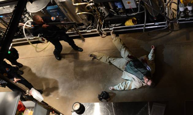"""This image released by AMC shows Bryan Cranston, as Walter White, in the final scene from  """"Breaking Bad.""""  The popular series about a chemistry teacher-turned drug dealer ended in September.  (AP Photo/AMC, Ursula Coyote)"""