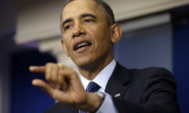 President Barack Obama speaks to reporters in the White House briefing room in Washington, Friday, March 1, 2013, following his meeting with congressional leaders regarding the automatic spending cuts. (AP Photo/Pablo Martinez Monsivais)