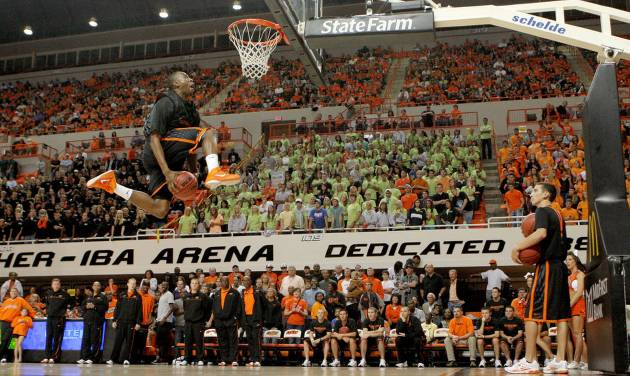 OSU's Markel Brown goes for a dunk in a dunk contest during Homecoming and Hoops at Oklahoma State University on Friday, October 22, 2010.  Photo by Bryan Terry, The Oklahoman