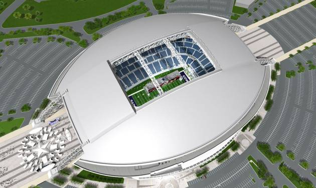 Parking outside the Dallas Cowboys' new stadium for OU-BYU will cost fans a gut-wrenching $38.  AP Photo/Dallas Cowboys
