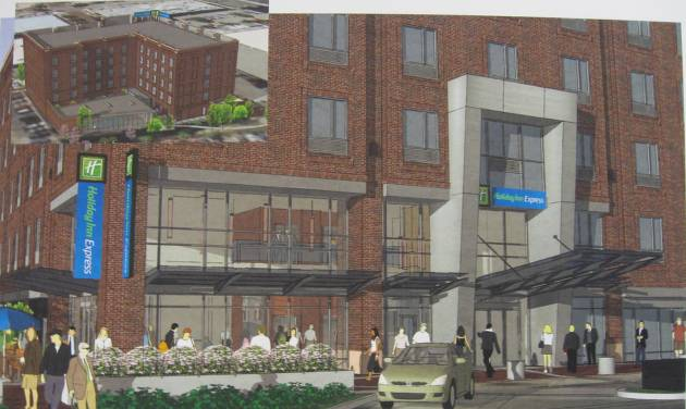 The proposed entrance and north view of a Bricktown Holiday Inn Express are shown in this rendering. Architectural Design Group  P