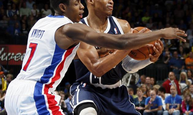 Detroit's Brandon Knight (7) defends Oklahoma City's Russell Westbrook (0) during an NBA basketball game between the Detroit Pistons and the Oklahoma City Thunder at the Chesapeake Energy Arena in Oklahoma City, Friday, Nov. 9, 2012. Oklahoma City won, 105-94. Photo by Nate Billings, The Oklahoman
