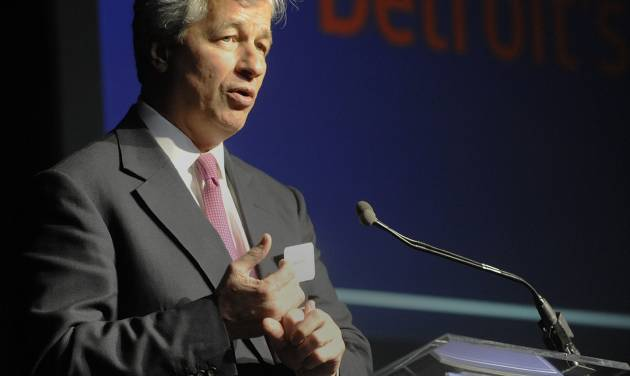 JP Morgan Chase  Chairman and CEO  Jamie Dimon speaks  at The Garden Theater in Detroit on Wednesday, May 21, 2014.    The chairman and CEO of America's biggest bank on Wednesday gave Detroit a pep talk and a promise of $100 million over the next five years. (AP Photo/Detroit News, Chrles V. Tines)