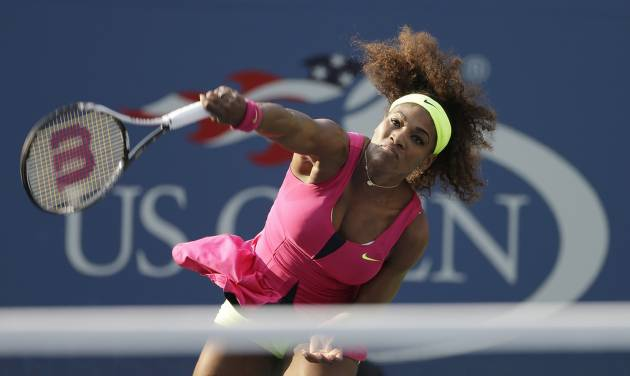 Serena Williams serves to Spain's Maria Jose Martinez Sanchez in the second round of play at the 2012 US Open tennis tournament, Thursday, Aug. 30, 2012, in New York. (AP Photo/Darron Cummings)
