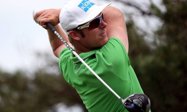 Finland's Mikko Ilonen on the eighth tee, during day three of the 2014 Irish Open at Fota Island Resort, County Cork, Ireland, Saturday, June 21, 2014. (AP Photo/Brian Lawless, PA Wire)    UNITED KINGDOM OUT   -   NO SALES    -   NO ARCHIVES