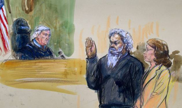 This artist's rendering shows United States Magistrate, Judge John Facciola, swearing in the defendant, Libyan militant Ahmed Abu Khatallah, wearing a headphone, as his attorney Michelle Peterson looks on during a hearing at the federal U.S. District Court in Washington, Saturday, June 28, 2014. The hearing of the Libyan accused of masterminding deadly Benghazi attacks, lasted ten minutes; he pled not guilty to conspiracy Saturday at his first appearance in U.S. court. (AP Photo/Dana Verkouteren)