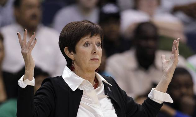 Notre Dame coach Muffet McGraw questions a call during the first half against Duke in the regional final game of the NCAA women's college basketball tournament Tuesday, April 2, 2013, in Norfolk, Va. (AP Photo/Steve Helber)