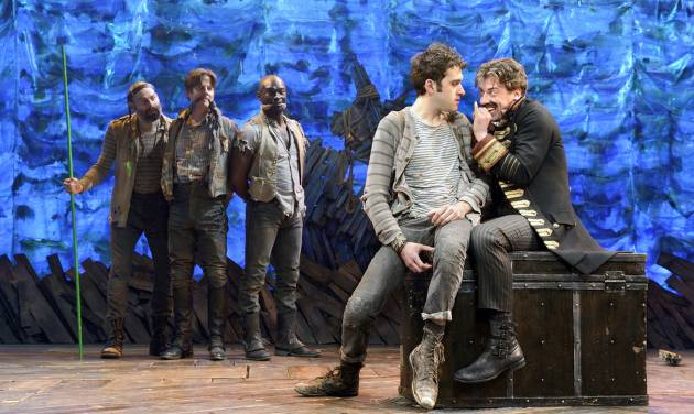 """In this theater image released by The O & M Co., from left,  Matt D'Amico, Rick Holmes, Isaiah Johnson, Adam Chanler-Berat, and Christian Borle are shown in a scene from """"Peter and the Starcatcher,"""" performing at the brooks Atkinson Theatre in New York. Producers of the play """"Peter and the Starcatcher"""" said Wednesday, Jan. 2, 2013, that the production will have a new life after it vacates the Brooks Atkinson Theatre later this month. It will be produced this spring at New World Stages, an off-Broadway complex of theaters that has housed other former Broadway shows like """"Avenue Q,"""" """"Million Dollar Quartet"""" and """"Rent."""" (AP Photo/The O & M Co.)"""