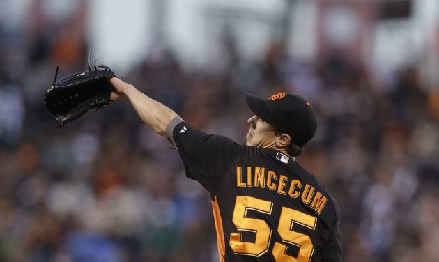 San Francisco Giants' Tim Lincecum works against the Oakland Athletics in the first inning of an exhibition spring training baseball game, Thursday, March 28, 2013, in San Francisco. (AP Photo/Ben Margot)