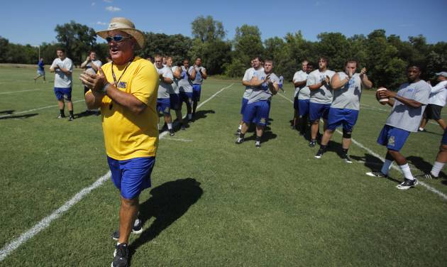 COLLEGE FOOTBALL: Dale Patterson, head coach and athletic director at NEO, starts football practice at Northeastern Oklahoma A&M College in Miami, Okla., Wednesday, July 18, 2012.  Photo by Garett Fisbeck, The Oklahoman