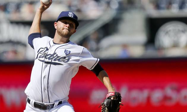 San Diego Padres starting pitcher Jesse Hahn throws against the Seattle Mariners in the first inning of a baseball game, Thursday, June 19, 2014, in San Diego. (AP Photo/Lenny Ignelzi)