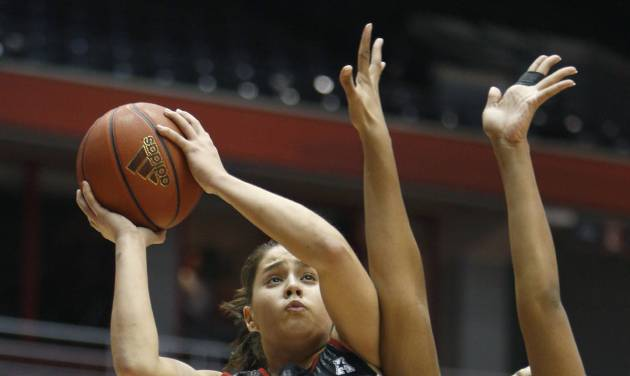 Louisville guard Shoni Schimmel (23) goes up for a shot against Cincinnati forward Shelbi Chandler (32) during the first half of an NCAA college basketball game, Saturday, March 1, 2014, in Cincinnati. (AP Photo/David Kohl)