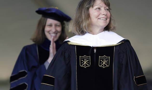 Jill Abramson, former executive editor of The New York Times, receives an honorary Doctor of Humane Letters degree during the commencement ceremony Monday, May 19, 2014 at Wake Forest University in Winston-Salem, N.C. It was Abramson's first public appearance since her dismissal from The New York Times. (AP Photo/Nell Redmond)