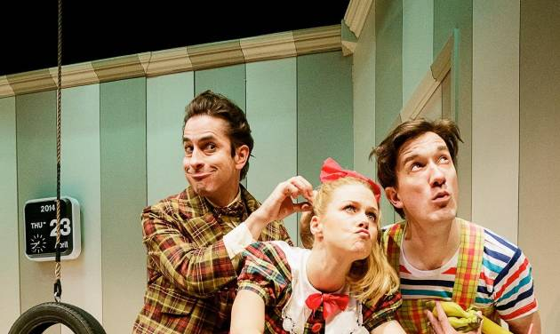 "This photo released by Keith Sherman & Associates shows, from left, Matthew Saldivar, Liv Rooth and Carson Elrod, in a scene from Primary Stages' production of ""All In The Timing"" by David Ives, performing off-Broadway at 59E59 Theaters in New York. (AP Photo/Keith Sherman & Associates, James Leynse)"