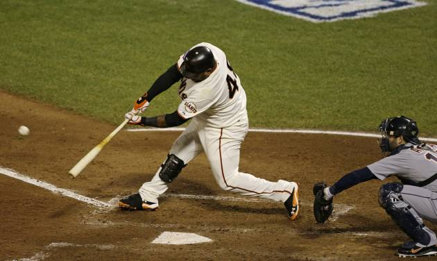 San Francisco Giants' Pablo Sandoval hits a home run during the fifth inning of Game 1 of baseball's World Series against the Detroit Tigers Wednesday, Oct. 24, 2012, in San Francisco. (AP Photo/Jeff Chiu)