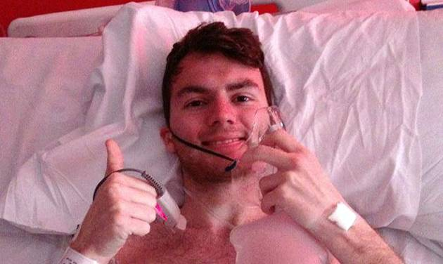 This is a an undated handout photo of cancer patient and fund raiser  Stephen Sutton.  The 19-year-old, who has raised more than 3 million pound US$5.03 million during his three-year battle against multiple tumours  died peacefully in his sleep this Wednesday May 14, 2014 , his mother said on his Facebook page Wednesday. (AP Photo/Stephen Sutton/PA ) UNITED KINGDOM OUT NO SALES NO ARCHIVE