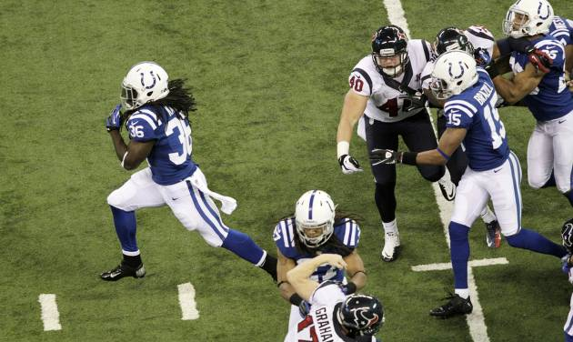Indianapolis Colts' Deji Karim, left, runs back a kickoff 101-yards for a touchdown during the second half of an NFL football game against the Houston Texans Sunday, Dec. 30, 2012, in Indianapolis. (AP Photo/AJ Mast) ORG XMIT: NAS133