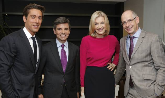 """This image released by ABC News shows, from left, David Muir, George Stephanopoulos, Diane Sawyer and ABC News President James Goldston on Wednesday, June 25, 2014, in New York.  Sawyer is stepping down as its evening news anchor, to be replaced by David Muir. The network said Sawyer will concentrate on interviews and specials. During her tenure, ABC's """"World News"""" was a steady second to Brian Williams at NBC, although the ABC broadcast has made gains among younger viewers. ABC said George Stephanopoulos will take on a new role as chief anchor for live news events. (AP Photo/ABC, Heidi Gutman)"""