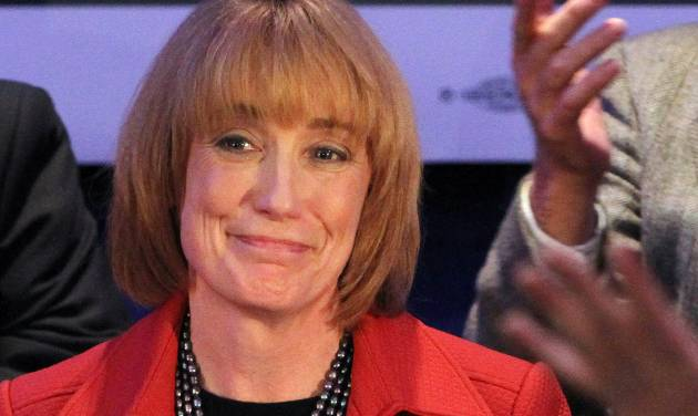 FILE This Nov. 6, 2012 file photo shows New Hampshire Gov.-elect Maggie Hassan in Manchester, N.H. When Hassan won the New Hampshire governor's race, it wasn't just a victory for Democrats. Unions spent millions to elect Hassan because she can block a Republican legislature from gutting their organizing and bargaining ability. From California to Maine, unions used their political muscle to defeat ballot initiatives against them and elect labor-friendly governors and lawmakers. (AP Photo/Jim Cole, File)