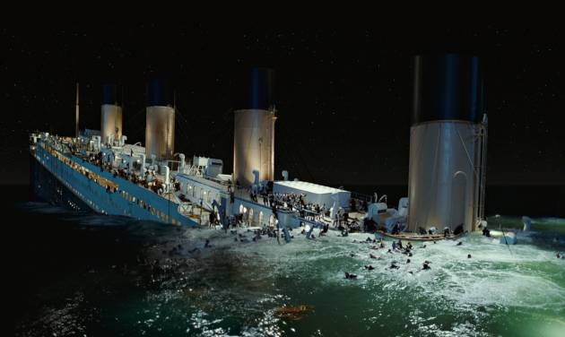 """In this film image released by Paramount Pictures, a scene is shown from 3-D version of James Cameron's romantic epic """"Titanic."""" Digital Domain Media Group Inc., best known for its work on Cameron's """"Titanic,"""" filed in the U.S. Bankruptcy Court for the District of Delaware, along with a Canadian court, Tuesday, Sept. 11, 2012. ital production company founded by director James Cameron said Tuesday that it filed for Chapter 11 bankruptcy protection and reached a deal to sell its operating business to a private investment firm for $15 million. (AP Photo/Paramount Pictures)"""