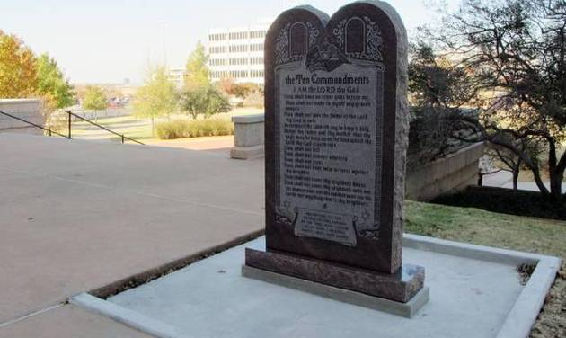 A Ten Commandments monument erected outside the Oklahoma state Capitol is shown on Nov. 16, 2012. AP FILE PHOTO